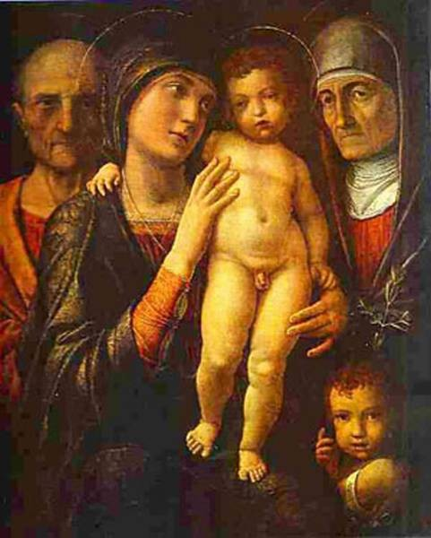 holy family with st elizabeth and st john the baptist as a child 1495 1500 XX the dresden gallery dresden germany